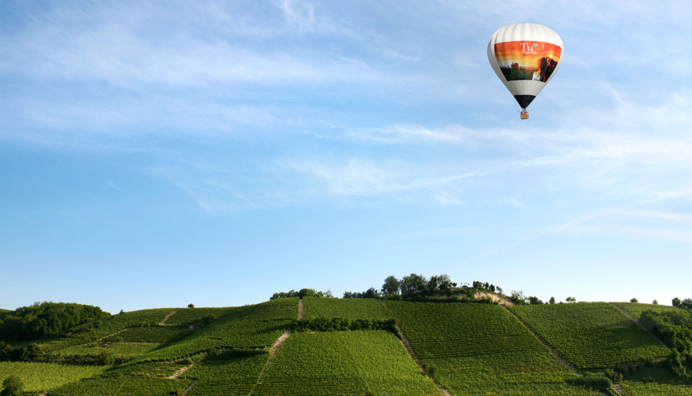 In flight above the Langhe